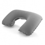 Travel Plane Flight U-shaped Pillow Inflatable Soft Car Head Neck Rest Compact Air Pump Cushion - Grey