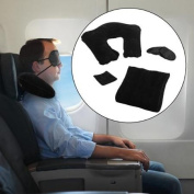 3pc E-Z Travel Set Inflatable Travel Pillow For Aeroplanes Eye Shade Back Cushion