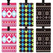Bundle Monster 3pr Cute Colourful Silicone Luggage Tag Set - Patternpalooza