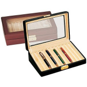 Budd Leather Leather 12 Pen Box w/ Glass Top