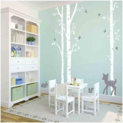Owl Hills 3 Birch Trees Wall Stickers, White with Grey Fawn, Bunny, Squirrel and Birds