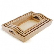 Paintable Wood Trays 4/Set-11cm x 19cm To 17cm x 26cm
