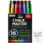 18 Colour 6mm Chalkmaster Liquid Chalk Markers Neon Pen Set + 6 Reversible Tips