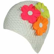 Luxury Divas White Multi Flowers Vintage Style Latex Swim Bathing Cap
