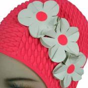 Luxury Divas Pink With White Flowers Vintage Style Latex Swim Bathing Cap