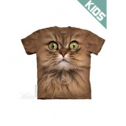 The Mountain Purple 100% Cotton Big Face Brown Cat Novelty T-Shirt (Large) NEW