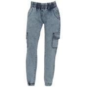 Hybrid & Company Girls Blue Elasticated Waist Ankle Cuff Denim Jeans 7