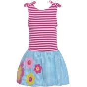 Rare Editions Little Girls Fuchsia Plaid Flower Applique Drop Waist Dress 6X