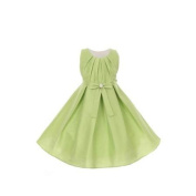 Little Girls Apple Green Poly Dupioni Pearl Sash Special Occasion Dress 4