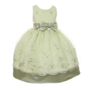 Girls Sage Organza Embroidery Bow Sash Flower Girl Easter Dress 8