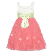Rare Editions Girls Coral White Floral Applique Cascade Occasion Dress 10