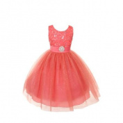 Rain Kids Girls Coral Sparkly Tulle Special Occasion Dress 14