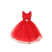 Rain Kids Little Girls Red Sparkly Tulle Special Occasion Dress 4