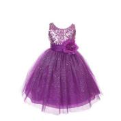 Rain Kids Girls 4 Purple Sequin Sleeveless Tulle Pageant Dress