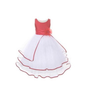 Girls Coral Poly Dupioni Tulle Tiered Flower Girl Easter Dress 14
