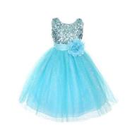 Rain Kids Girls 12 Aqua Sequin Sleeveless Tulle Pageant Dress