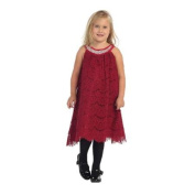 Angels Garment Little Girls Raspberry Lace Overlay Crystal Christmas Dress 6