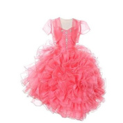 Rain Kids Coral Rose Ruffled Corset Organza Pageant Dress Girls 2T
