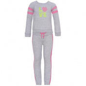 Little Girls Grey Pink Studded Accents Gym 2 Pc Pants Outfit 5