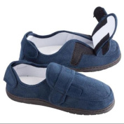Miles Kimball LG Navy Blue Adjustable Memory Foam Slippers