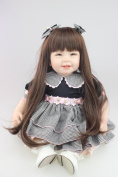 Npkdoll Lovely Toy Doll Soft Silicone Vinyl 22inch 55cm Lifelike Cute Boy Girl Toy Black Dress