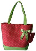 Large Polka Dot Tote Bag with Ribbon and Coin Purse