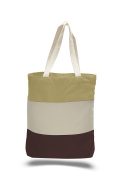 Pack of 6 - Cottom Canvas Tri Colour Promo Tote with Bottom Gusset - Size 38cm w X 38cm h X 7.6cm d