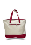 Pack of 6 - Cotton Canvas Zipper Tote Bag - Size 46cm w X 36cm h X 11cm d