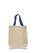 Pack of 6- Promotional Tote Bag with Bottom Gusset & Natural Body with Colour Handles Bag - Size 38cm w X 38cm h X 7.6cm d