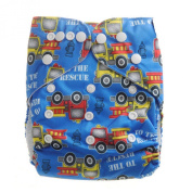 Aivtalk Baby Boys Cartoon Printing Double-breasted Breathable Cotton Leakproof Washable Nappies Inserts Adjustable Reusable Nappies - Fire Truck