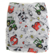 Aivtalk Baby Unisex Cartoon Printing Double-breasted Breathable Cotton Leakproof Washable Nappies Inserts Adjustable Reusable Nappies - Chicken and Houses