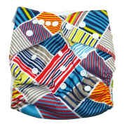 Aivtalk Baby Unisex Cartoon Printing Double-breasted Breathable Cotton Leakproof Washable Nappies Inserts Adjustable Reusable Nappies - Diagonal Stripes