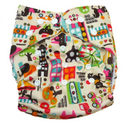 Aivtalk Baby Unisex Cartoon Printing Double-breasted Breathable Cotton Leakproof Washable Nappies Inserts Adjustable Reusable Nappies