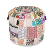 Indian Traditional Home Decorative Ottoman Handmade and Patchwork Foot Stool Floor Cushion, Bohemian Ottoman