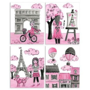 The Kids Room by Stupell 4 Piece Quadtych Wall Plaque Set, A Girl in Paris