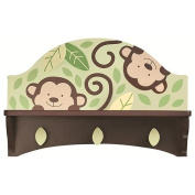 Koala Baby Decorative Monkey Wall Shelf with Hooks for Keepsakes etc. 41cm x 14cm x 10.13cm for Children's room Nursery Etc