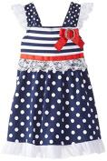 Little Lass Infant & Toddler Girls Patriotic Ruffled Dress Polka Dot Sun Dress