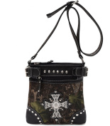 Cowgirl Trendy Fashion Women's Western Camouflage Cross Body Messenger Bag Purse Black