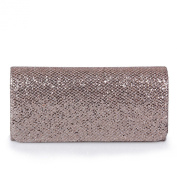 Ecosusi Women Flap Dazzling Evening Bag Hard Case Clutch Handbag Purse for Women with Detachable Chain