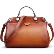 AB Earth Women Genuine Leather Handbag Top-handle Tote Cross Body Shoulder Messenger Bag, M803Brown