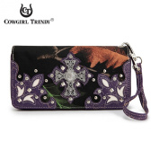 (B11-3)BX-Black Camouflage With Cross Double Zip Around Wallet-BML2300C