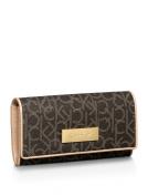 Calvin Klein Womens Jordan Flap Continental Wallet Dark Brown