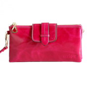 Itslife Women's Oil Wax Leather Large Wallet Smartphone Bag With Chain