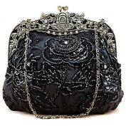 BEA005 Beaded Bridal Satin Handbag Fashion evening Purse Wedding Prom Clutch W Chain