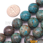 GEM-inside 14mm Round Faceted Blue Crazy Lace Agate Gemstone Jewellery Making Beads 38cm