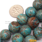 GEM-inside 14mm Round smooth Blue Crazy Lace Agate Gemstone Jewellery Making Beads 38cm