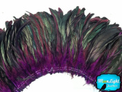 Rooster Tails, Wholesale Purple Half Bronze Coque Tail Strung Feathers (Bulk) - 1/2 Yard