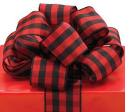 Red Black Plaid Ribbon 20 yards 3.8cm wired Bow Craft Decor Birthday Gift Basket