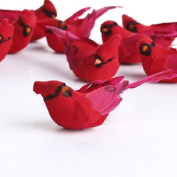Package of 12- Artificial Bright Red Sitting Cardinal Mushroom Birds for Crafting, Floral Arranging, and Embellishing