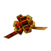 Christmas Gift Wrap Pull Bows - 13cm Wide, Set of 6, Red Green Plaid